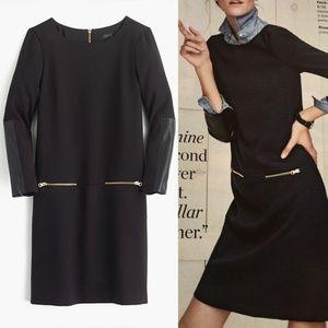J. Crew Black Tall Faux Leather Zip Dress 2T